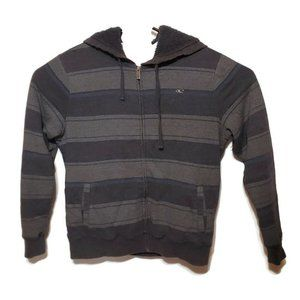 ONEILL Full Zip Blue Gray Stripe Sherpa Lined Hood